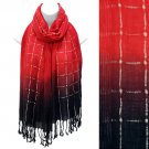 Beautiful Chic Black Ombre Woven Fringe Fashion Scarf Red SF00285RD