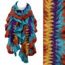 Multi Tone Ruffle Knit Cold Weather Fashion Scarf Orange Blue    SF00287BLOR