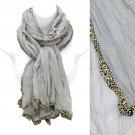 Leopard Animal Print Edged Trim Crinkled Beautiful Fashion Scarf Gray SF00289GY