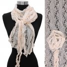 Gorgeous Floral Decorated Lightweight Lace Fashion Scarf Pink SF00290PK