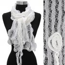 Gorgeous Floral Decorated Lightweight Lace Fashion Scarf White SF00290WT