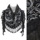 Duo Layer Abstract Design Lace Drop Triangle Fashion Scarf Black SF00291BK