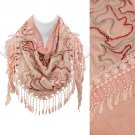 Duo Layer Abstract Design Lace Drop Triangle Fashion Scarf Pink SF00291PK