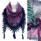 Multi Animal Print Pattern Tassel Fashion Square Scarf Blue  SF00292BL