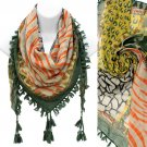 Multi Animal Print Pattern Tassel Fashion Square Scarf Green  SF00292GN