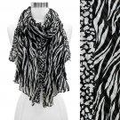 Duo Animal Print Pattern Crinkled Fashion Scarf Black SF00296BK