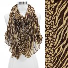 Duo Animal Print Pattern Crinkled Fashion Scarf Brown SF00296BR