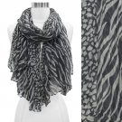 Duo Animal Print Pattern Crinkled Fashion Scarf Gray SF00296GY