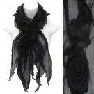 Beautiful Rose Floral Corsage Chiffon Lightweight Fashion Scarf Black SF00297BK
