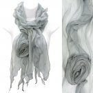 Beautiful Rose Floral Corsage Chiffon Lightweight Fashion Scarf Gray SF00297GY