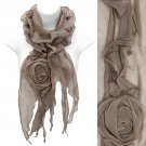 Beautiful Rose Floral Corsage Chiffon Lightweight Fashion Scarf Taupe SF00297TP