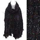 Multi Color Dot Print Wrinkle Shawl Fashion Scarf Black SF00294BK