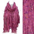 Multi Color Dot Print Wrinkle Shawl Fashion Scarf Fuchsia SF00294FU