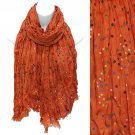 Multi Color Dot Print Wrinkle Shawl Fashion Scarf Orange SF00294OR