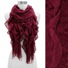 Vintage Net Design Ruffle with Fringe Cold Weather Fashion Scarf Pink SF00298FU
