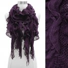 Vintage Net Design Ruffle with Fringe Cold Weather Fashion Scarf Purple SF00298PU