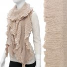 Beautiful Ruffled Edge Soft Knit Cold Weather Long Fashion Scarf Beige SF00300BE