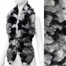 Duo Tone Hooked Closures Faux Fur Fashion Scarf Black White SF00302BKWT