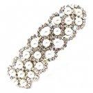 Bridal Wedding Jewelry Crystal Rhinestone Pearl 3-Row Hair Barrette Clip Silver HABJ057RDCLWT