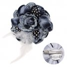 Velvet & Lace Double Layer Feather Flower Corsage Brooch 2 Way Hair Pin Gray BH00024GY