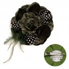 Velvet & Lace Double Layer Feather Flower Corsage Brooch 2 Way Hair Pin Green BH00024OL