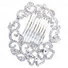 Bridal Wedding Jewelry Crystal Floral Wreath Magnetic Clasp Hair Pin Silver HABJ012RDCL