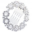 Bridal Wedding Jewelry Crystal Flower RD Wreath Magnetic Clasp Hair Pin Silver HABJ009RDCL