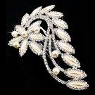 Bridal Wedding Jewelry Crystal Rhinestone Pearl Floral Navette Hair Comb Pin HABJ040RDCLCM