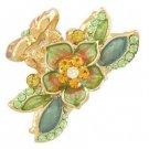 Austrian Crystal Rhinestone Fashion Jewerly Floral Small Hair Claw Gold Green HA00007