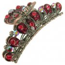 Austrian Crystal Rhinestone Fashion Jewelry Ruby Red Antique Bronze Hair Claw HA00005