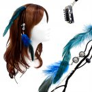 Feather Beaded Hair Extension Mini Hair Clip Comb Leather Cord Black Blue Teal HA00436F3TL
