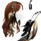 Feather Beaded Hair Extension Mini Hair Clip Comb Leather Cord Camel Black HA00436F5BK