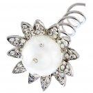 Bridal Wedding Jewelry Hair Spiral Pin Crystal Rhinestone Pearl Sunflower Silver  HABJ007RDCLWT