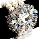 Bridal Wedding Jewelry Stunning Crystal Pearl MT Strands Bracelet Silver Ivory BR00336RDCLIV