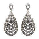 Bridal Wedding Jewelry Brilliant Layered Teardrop Dangle Fashion Earrings Silver ER00483RDCL