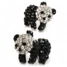 Fun Adorable Crystal Rhinestone Animal Panda Fashion Stud Earrings Silver Black ER00496RDBK