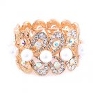Bridal Wedding Jewelry Stunning Beautiful Crystal Pearl Stretch Bracelet Gold BR00340GDABWT