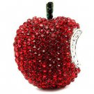 Apple Fruit Crystal Rhinestone Fun Big Sparkling Fashion Stretch Ring Silver Red RG00173RDRD