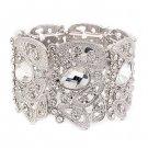 Bridal Wedding Jewelry Beautiful Chic Crystal Rhinestone Stretch Bracelet Silver BR00345RDCL