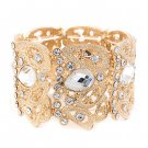 Bridal Wedding Jewelry Beautiful Chic Crystal Rhinestone Stretch Bracelet Gold BR00345GDCL