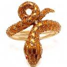 Snake Crystal Rhinestone Animal Hinge Stunning Fashion Bracelet Gold Brown BR00331GDBR