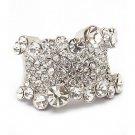 Bling Crystal Rhinestone Stretch Adjustable Fashion Ring Silver Tone Clear RG00139RDCL