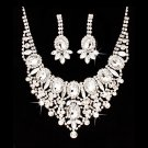Bridal Wedding Jewelry Set Crystal Rhinestone Luxurious Dazzle Necklace Silver JS00346RDCL