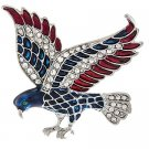 Patriotic American Flag Crystal Rhinestone 3D Large Eagle Brooch Pin Silver BHAM004RDCL