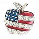 Patriotic American Flag Gorgeous Crystal Rhinestone 3D Apple Brooch Pin Silver BHAM005RDCL