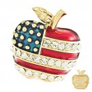 Patriotic American Flag Gorgeous Crystal Rhinestone 3D Apple Brooch Pin Gold BHAM005GDCL