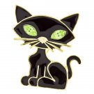 Halloween Costume Jewelry Black Cat Crystal Charm Brooch Pin Gold Black Green BHHW002GDGN