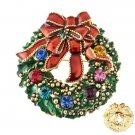 Christmas Jewelry Crystal Rhinestone Sparkle Wreath Ribbon Brooch Pin Gold Green BH00041GDMT
