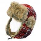 Plaid Design Faux Fur Trooper Aviator Trapper Cold Weather Winter Ski Cap Hat Red HT00004-RD