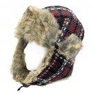 Plaid Design Faux Fur Trooper Aviator Trapper Cold Weather Winter Ski Cap Hat Black HT00004-BK